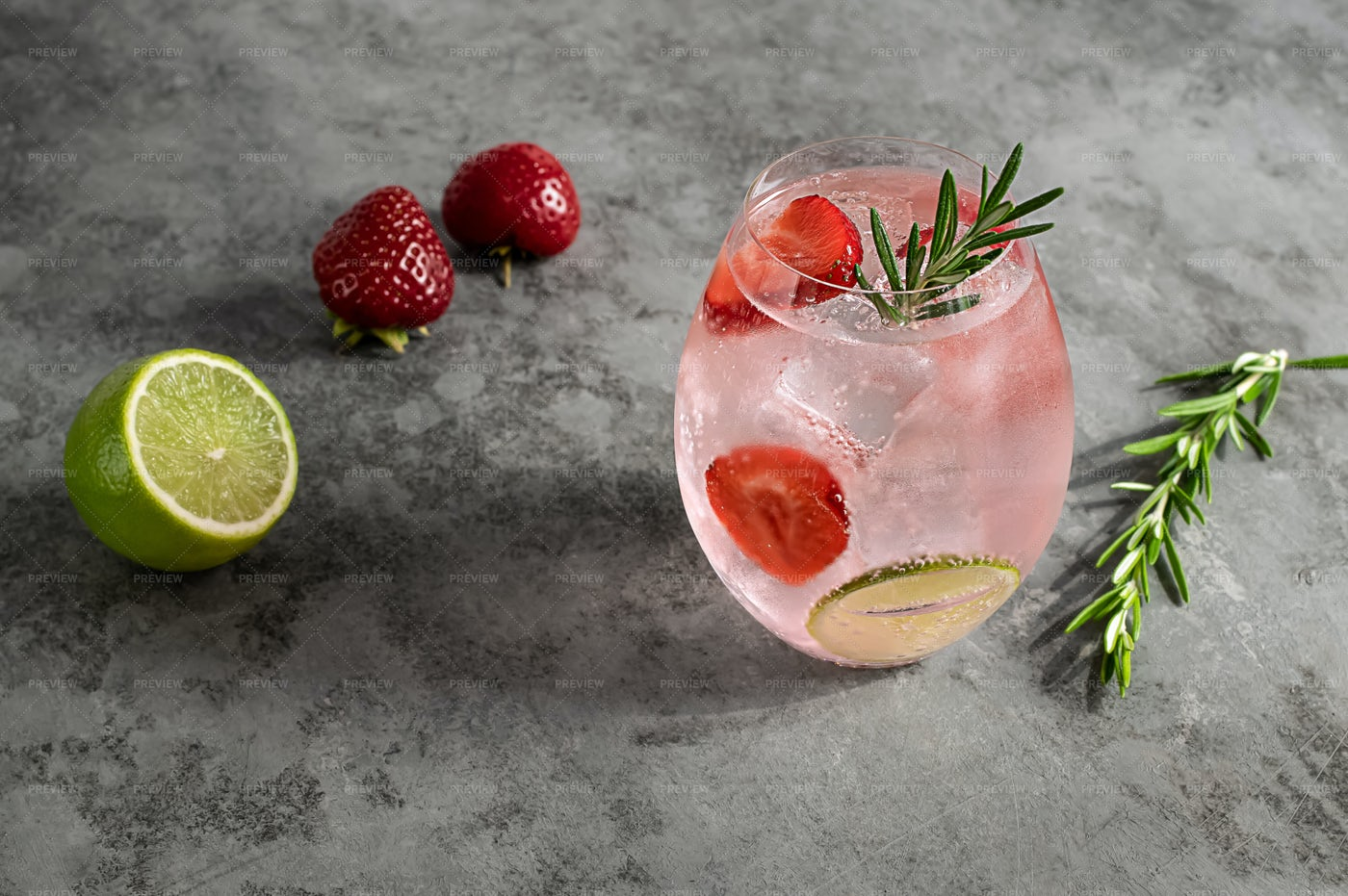 Pink Gin With Rosemary: Stock Photos