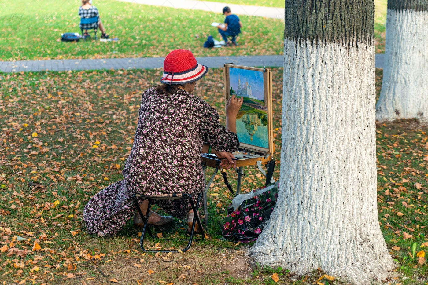 Painter Draws A Picture In The Park: Stock Photos