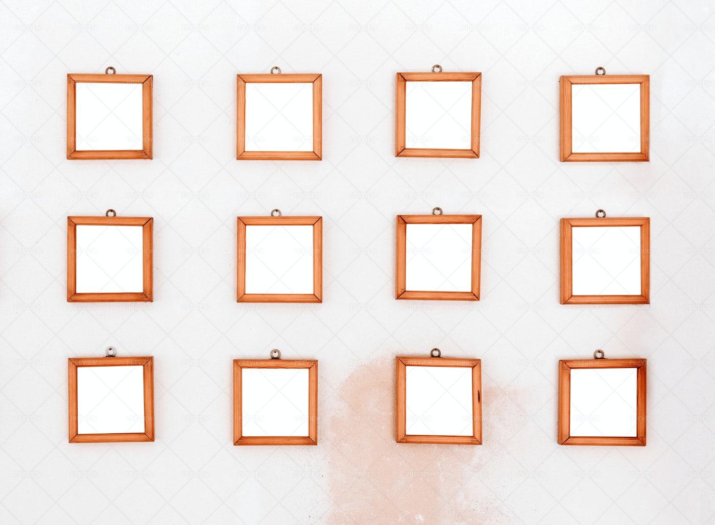Twelve Wooden Frames: Stock Photos