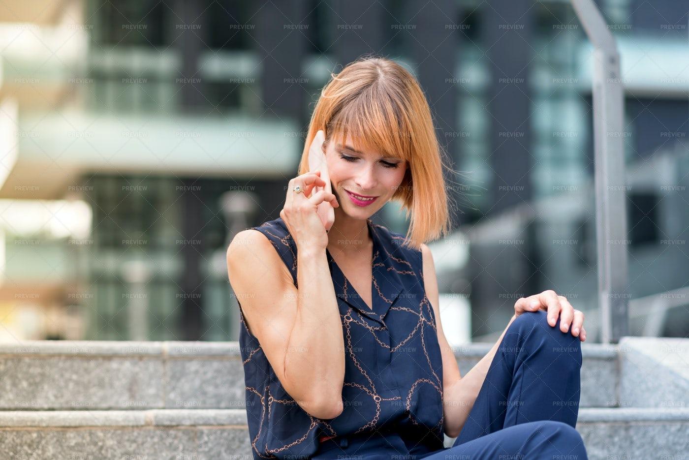 Woman Making A Call: Stock Photos