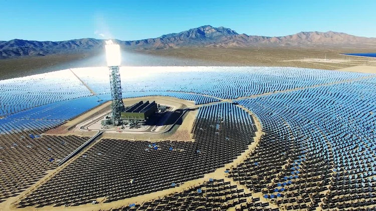 Aerial - Mojave Solar Power Farm: Stock Video