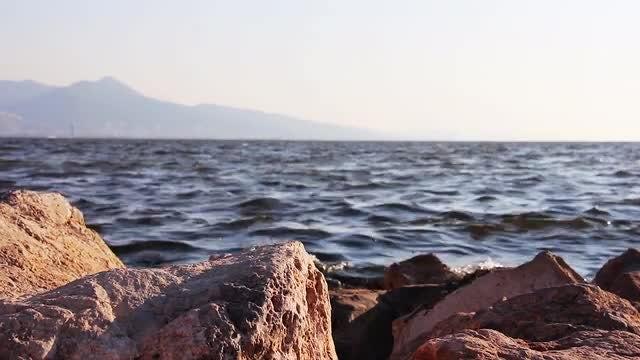 Brown Rocks On The Seashore: Stock Video