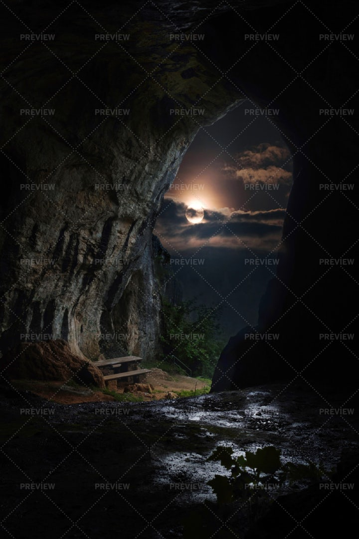 Full Moon And Cave: Stock Photos