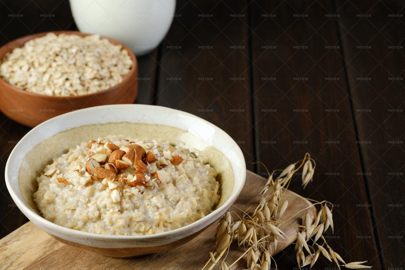 Oatmeal Porridge With Copy Space: Stock Photos