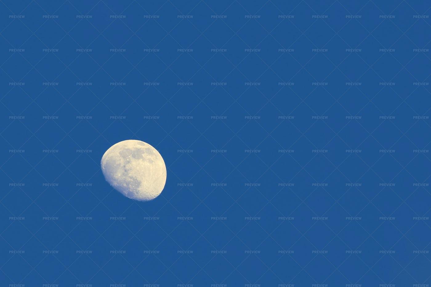 Full Moon In Blue Sky: Stock Photos