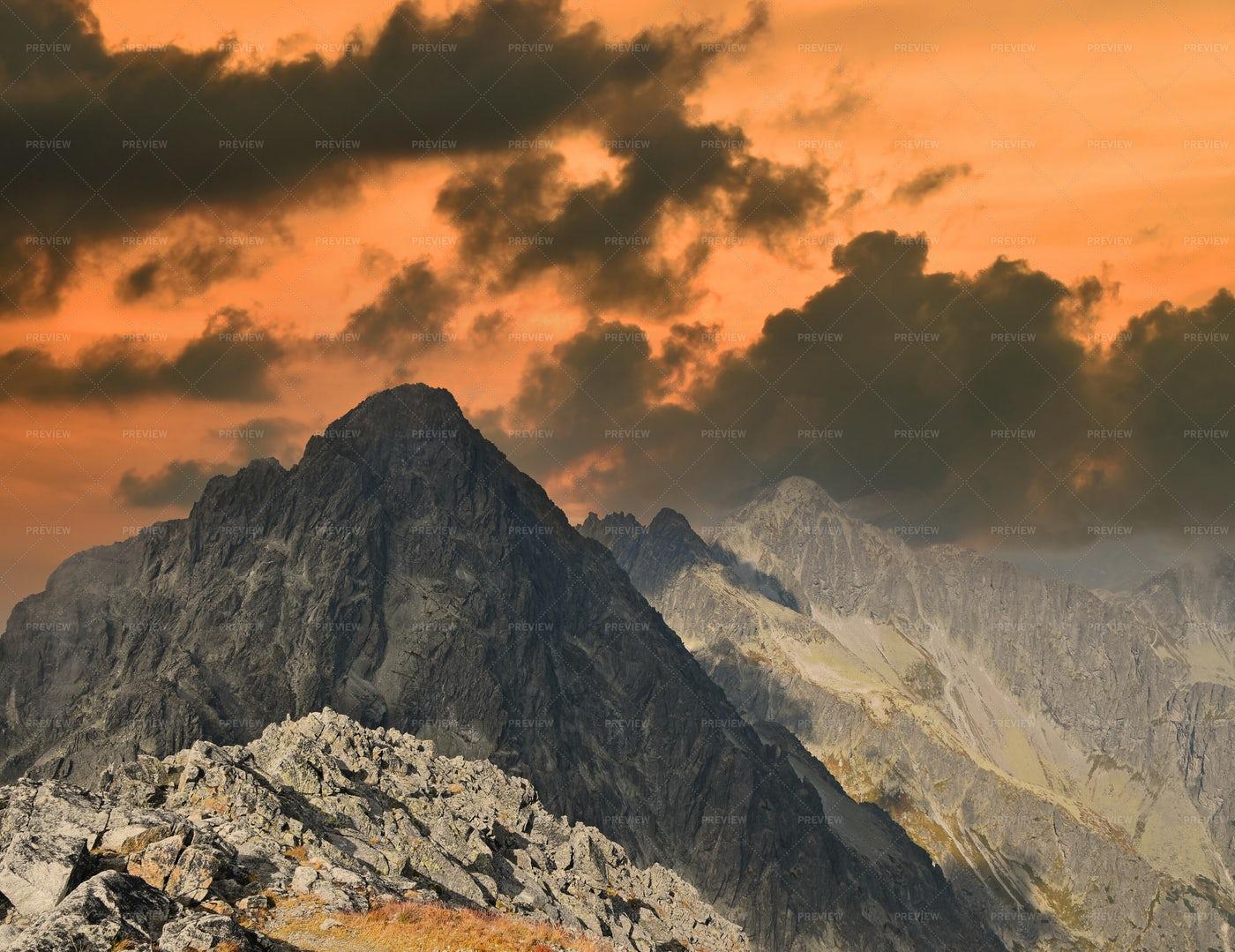 Mountain Ridge In Sunset: Stock Photos