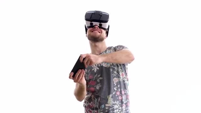 Young Man Experiencing Virtual Reality: Stock Video