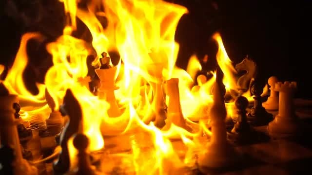 Chess Pieces Burning: Stock Video
