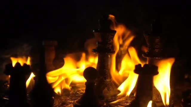 Pieces Of Chess Burning: Stock Video