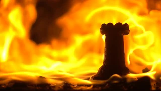 Piece Of Chess Burning : Stock Video