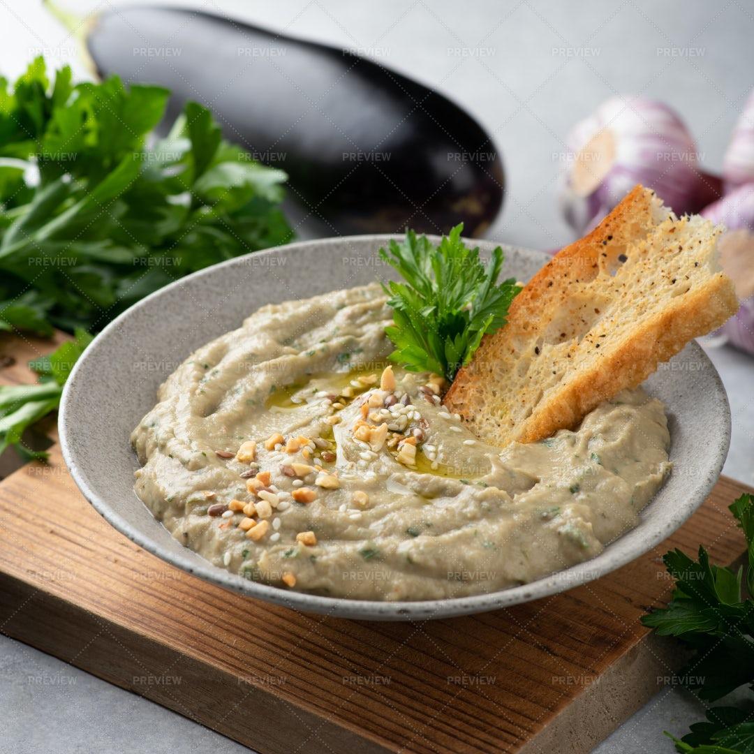 Baba Ghanoush Dish: Stock Photos
