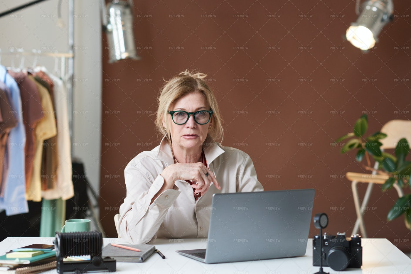 Senior Woman Working At The Office: Stock Photos