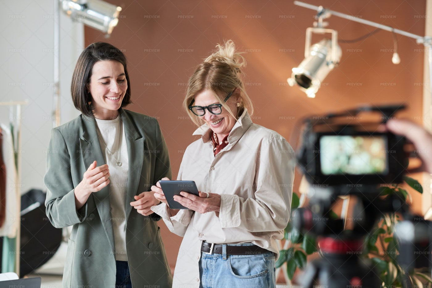 Businesswomen Being Photographed: Stock Photos
