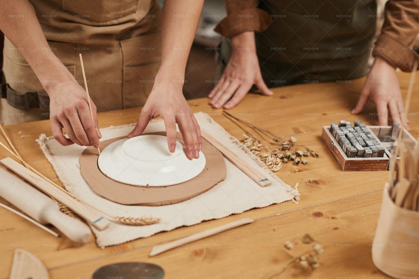 Potter Making Ceramics Close Up: Stock Photos