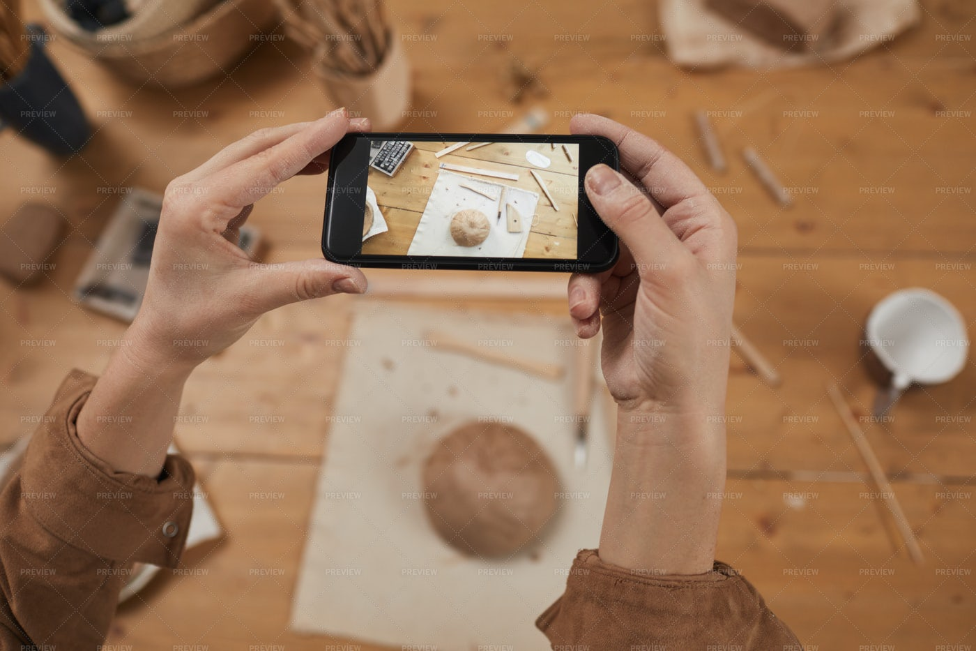 Taking Photo Of Ceramic Bowl: Stock Photos