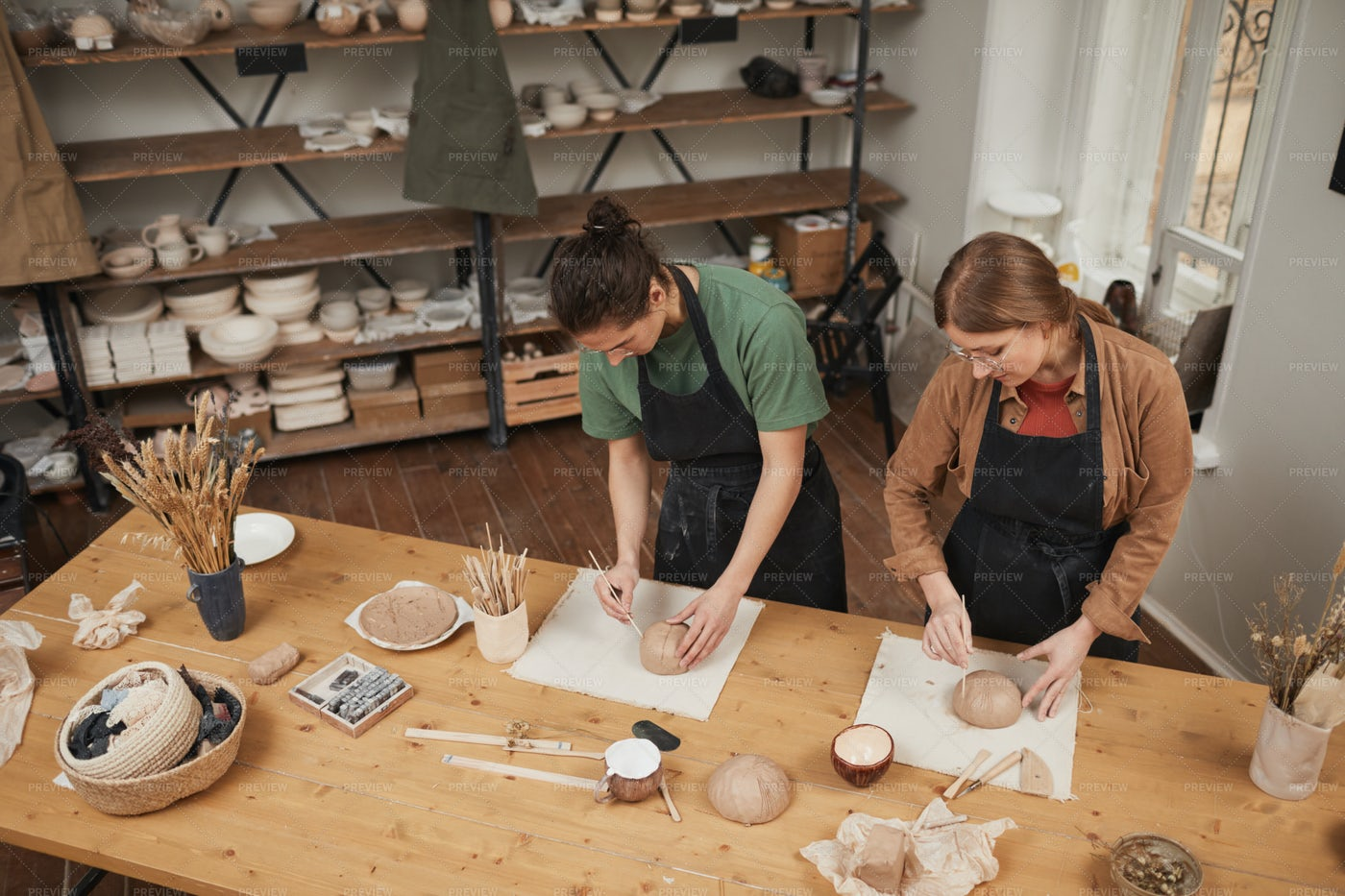 Students In Pottery Workshop: Stock Photos