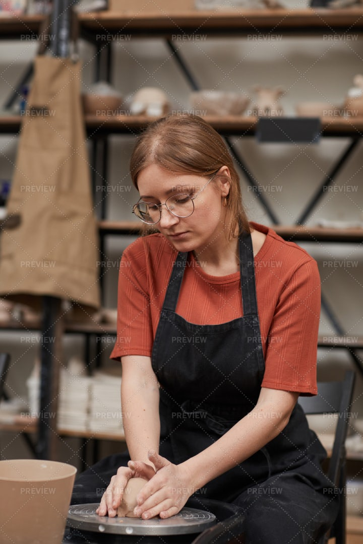 Female Artisan In Pottery Workshop: Stock Photos