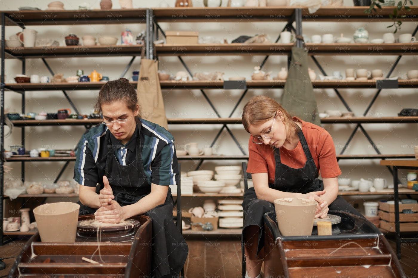 Two Artists Making Ceramics: Stock Photos