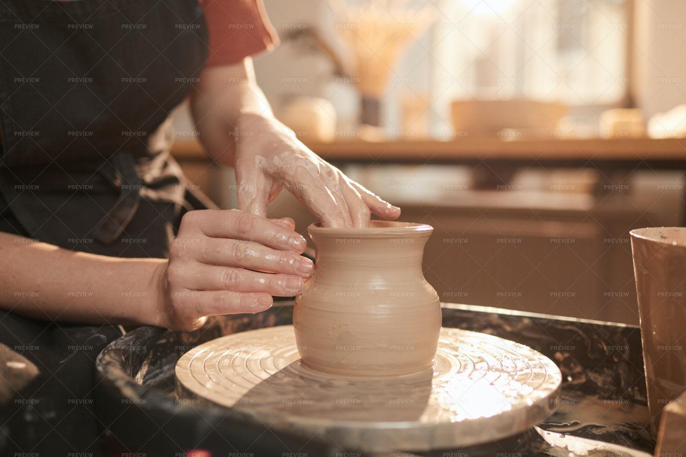 Handmade Pottery In Sunlight: Stock Photos