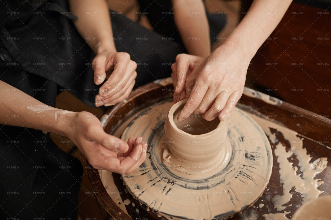 Couple Making Ceramics: Stock Photos