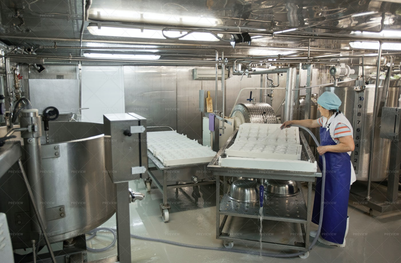 Working At Industrial Food Factory: Stock Photos