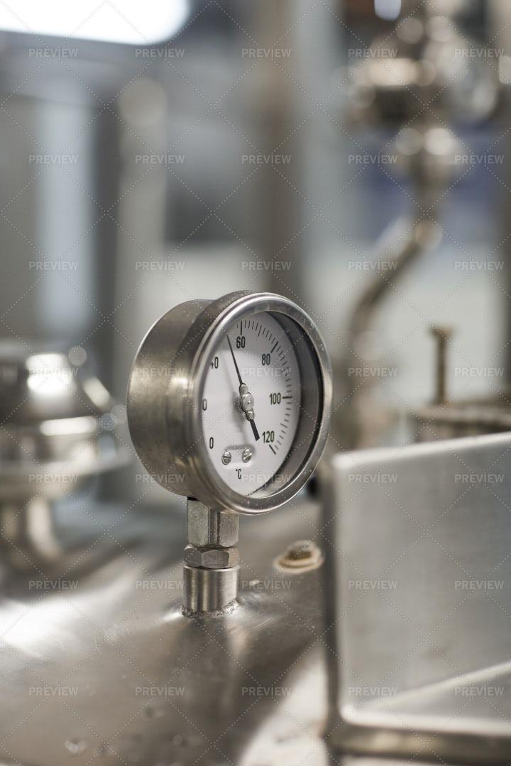 Gauge Meter At Plant: Stock Photos