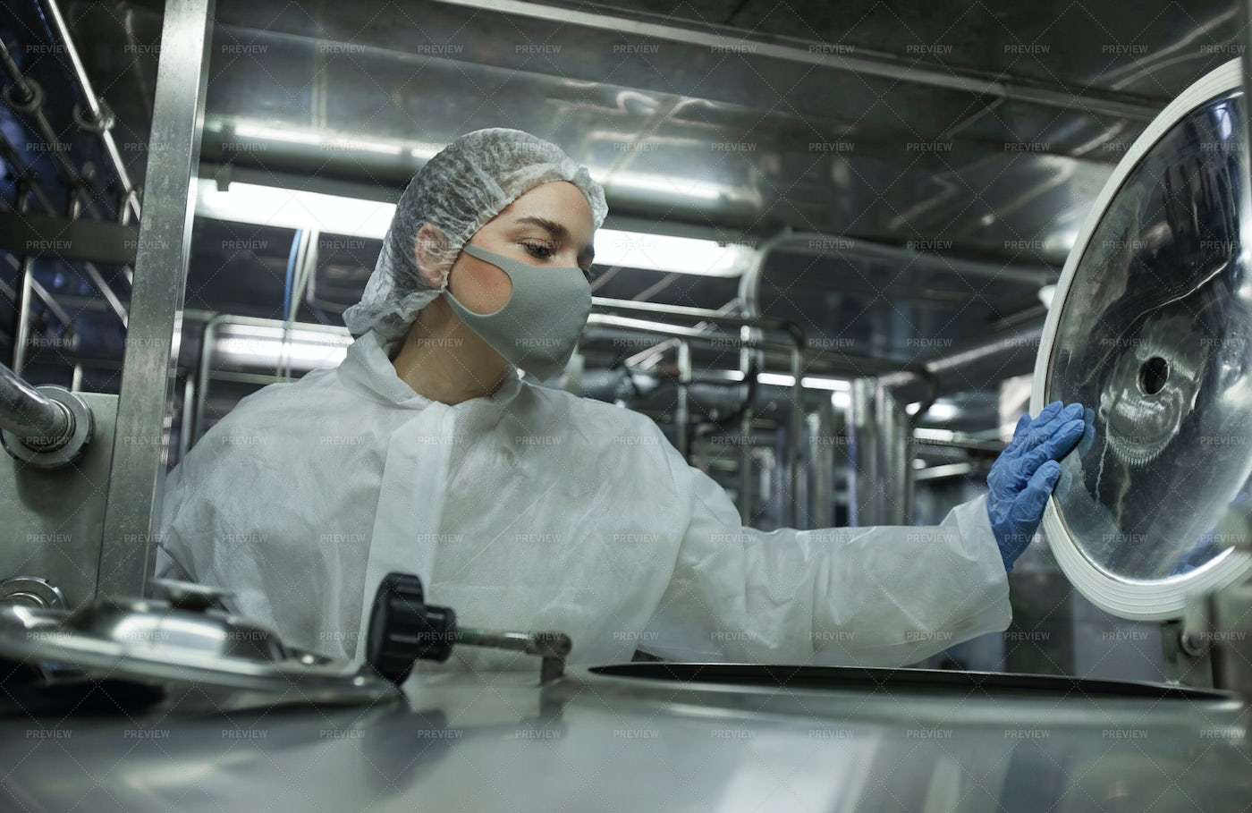 Worker Controlling Food Production: Stock Photos