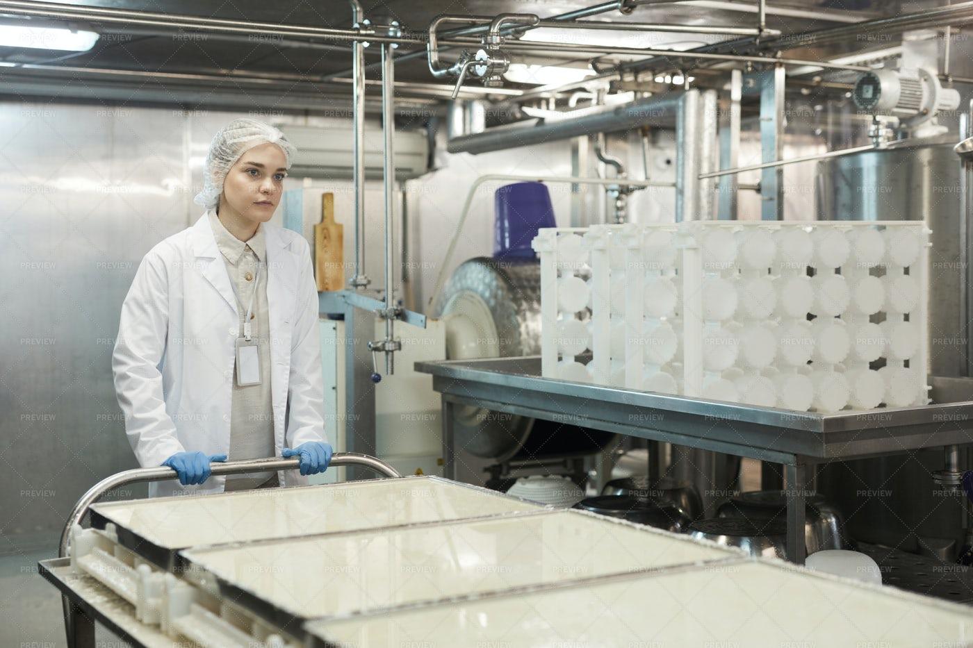 Pushing Cart At Food Factory: Stock Photos