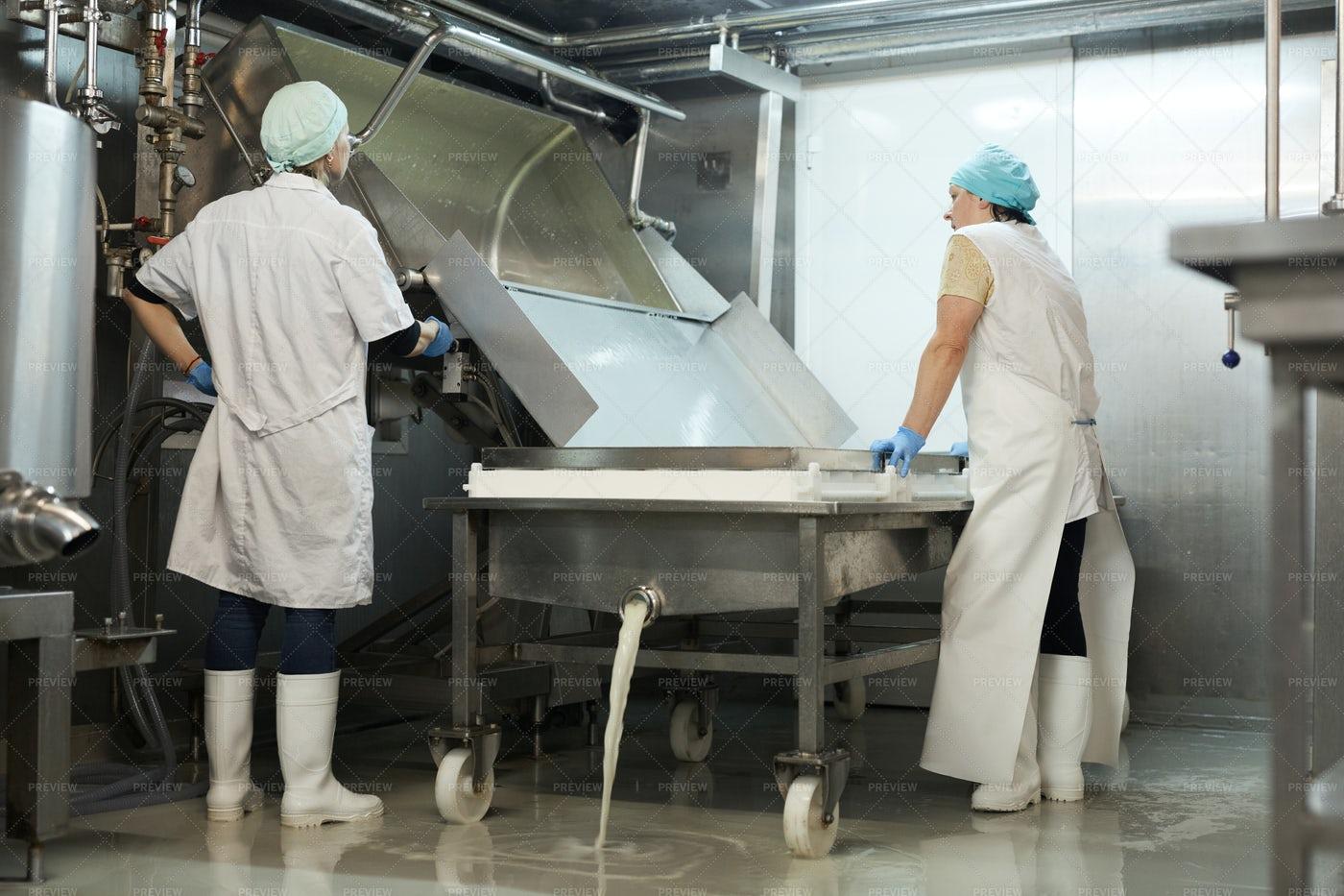 Whey Draining Process: Stock Photos