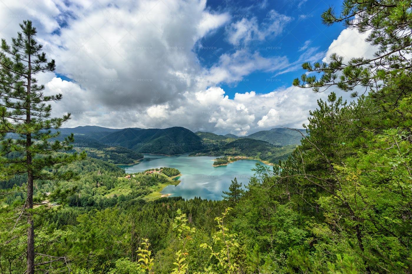 Lake Among Green Hills: Stock Photos