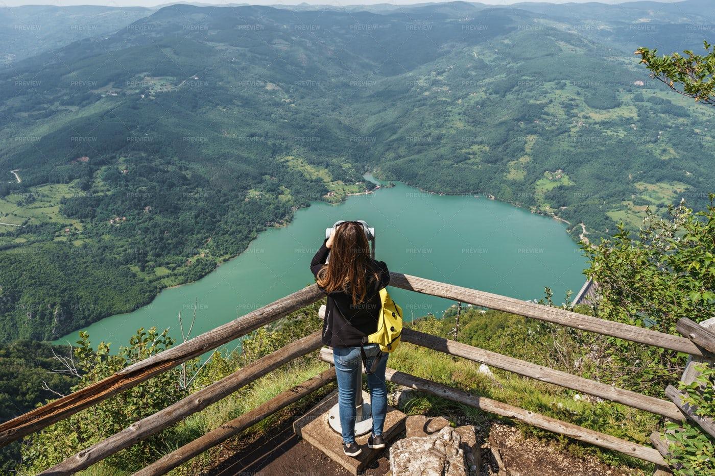 Tourist Woman On Observation Desk: Stock Photos