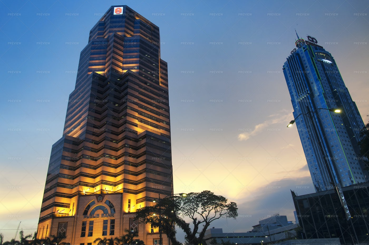 Lighted Bank Building: Stock Photos