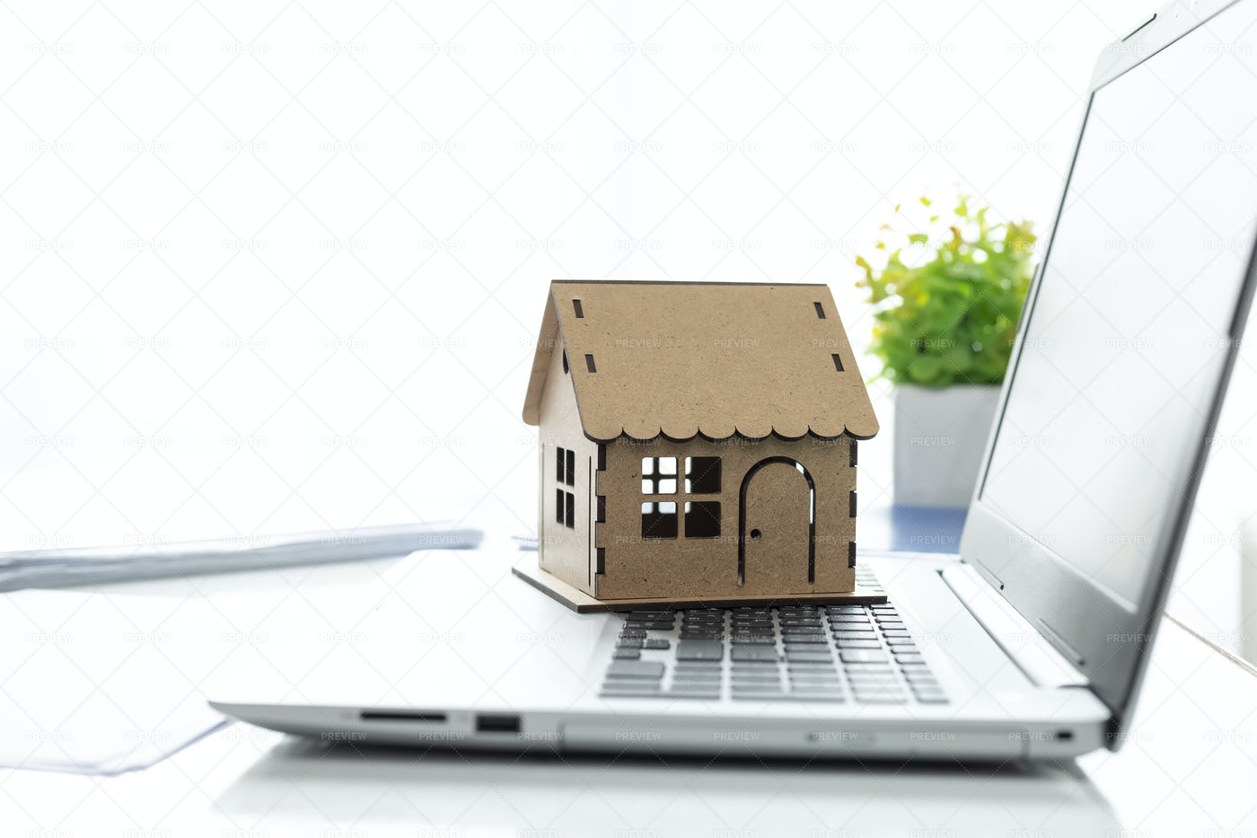 Model House And Laptop.: Stock Photos