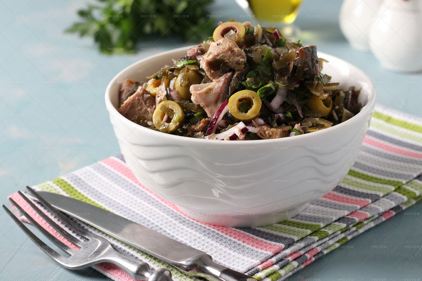 Salad With Kelp, Canned Tuna And Olives: Stock Photos