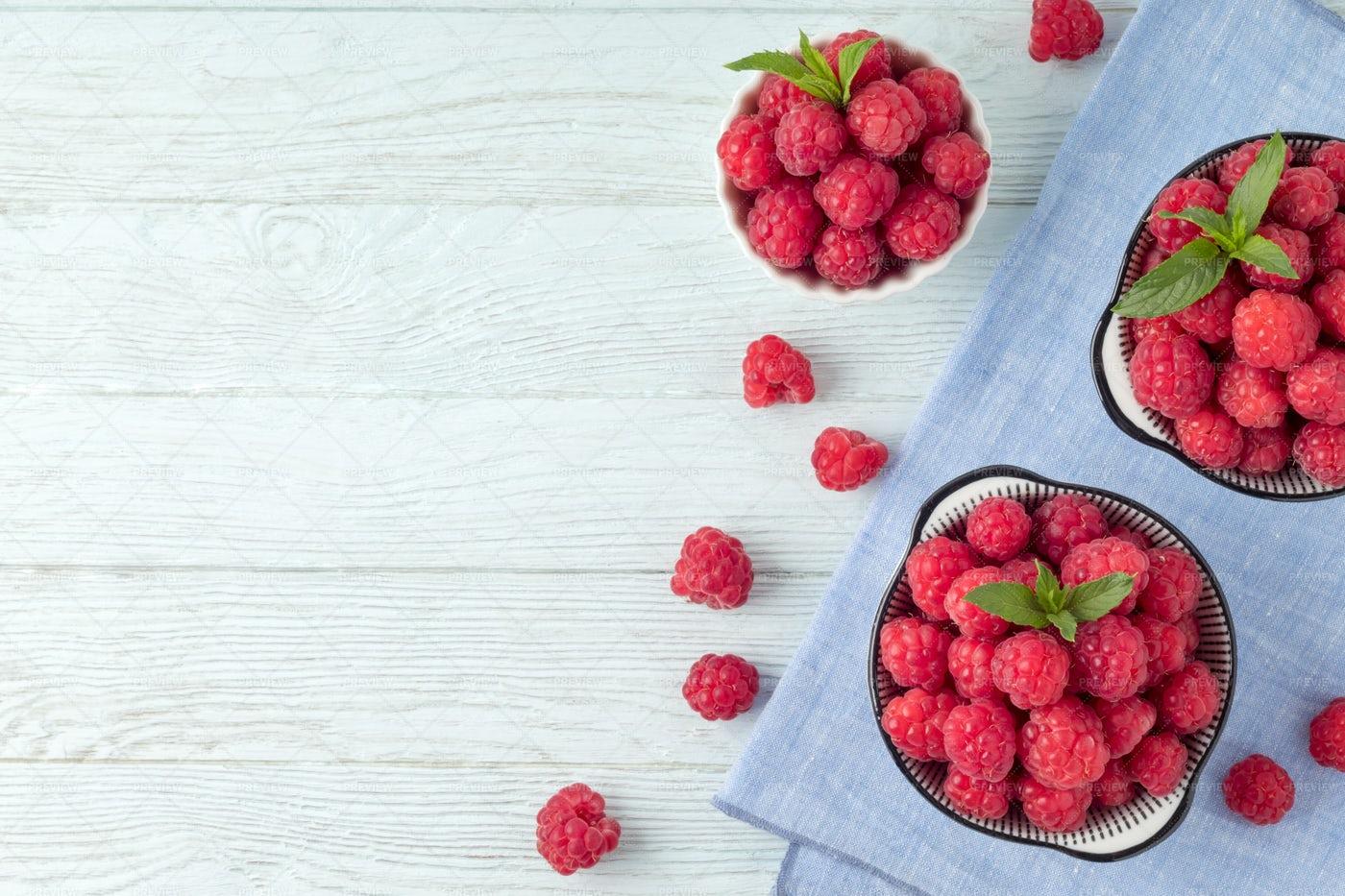 Raspberries Bowls: Stock Photos