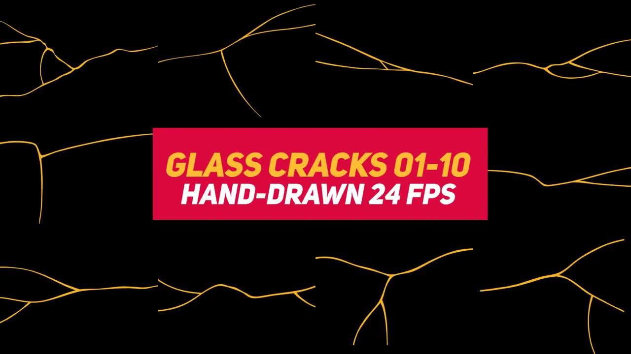 Liquid Elements 3 Glass Cracks 01-10 - Stock Motion Graphics