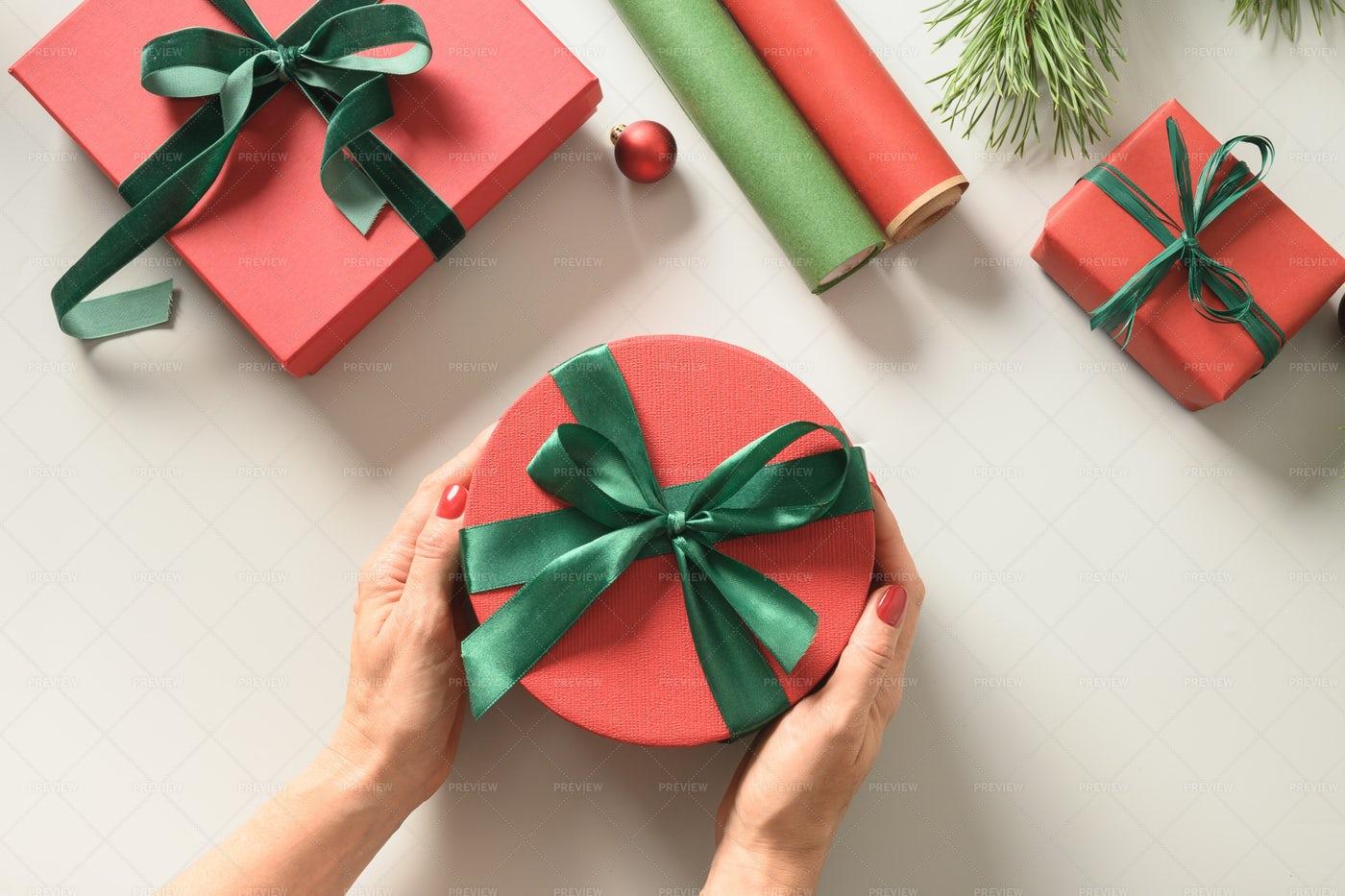 Preparing Gift Boxes For Christmas: Stock Photos