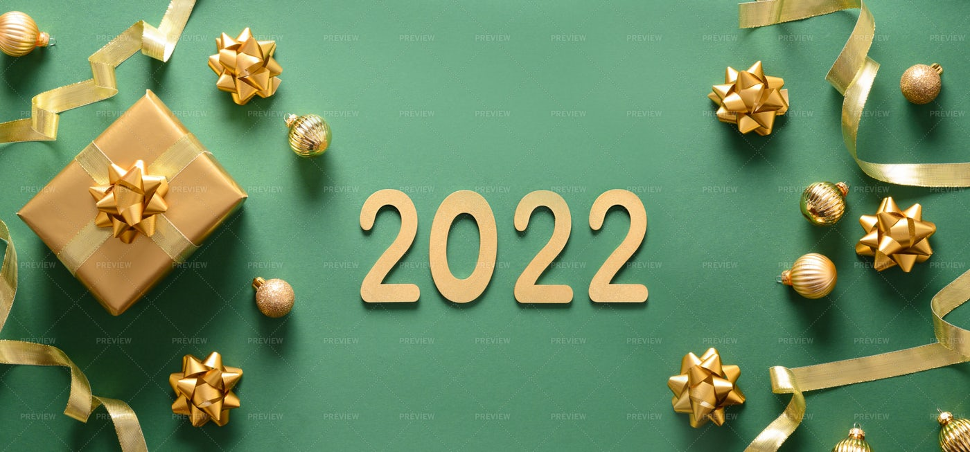 New Year Banner With Golden Gift: Stock Photos