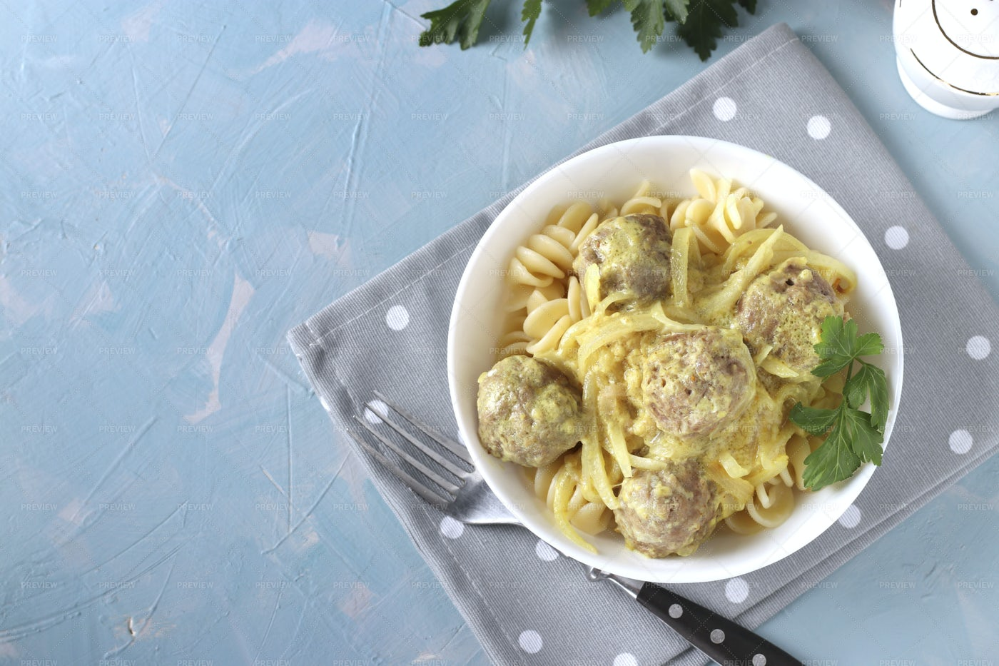 Baked Meatballs With Pasta: Stock Photos