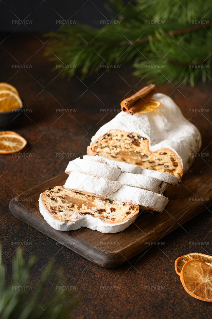 Traditional Stollen With Dried Orange: Stock Photos