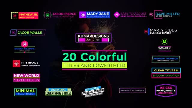 20 Colorful Titles And Lower Thirds: After Effects Templates