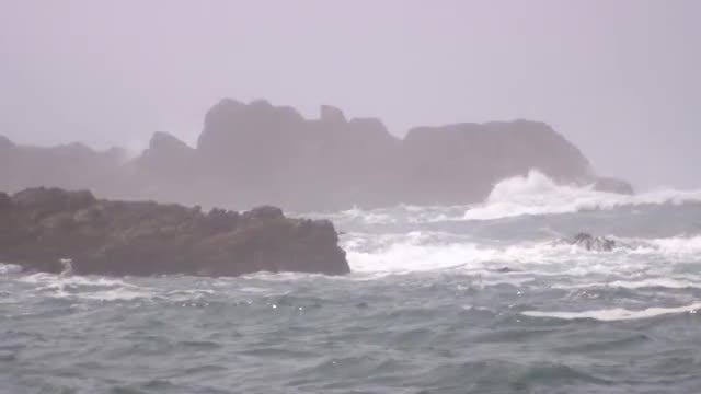 Ocean Waves On Huge Rocks: Stock Video