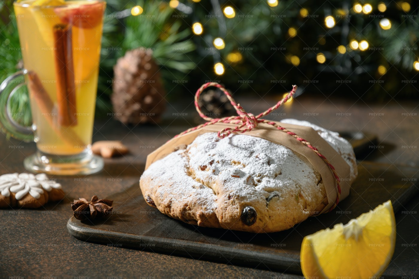 Christmas Stollen And Mulled Wine: Stock Photos