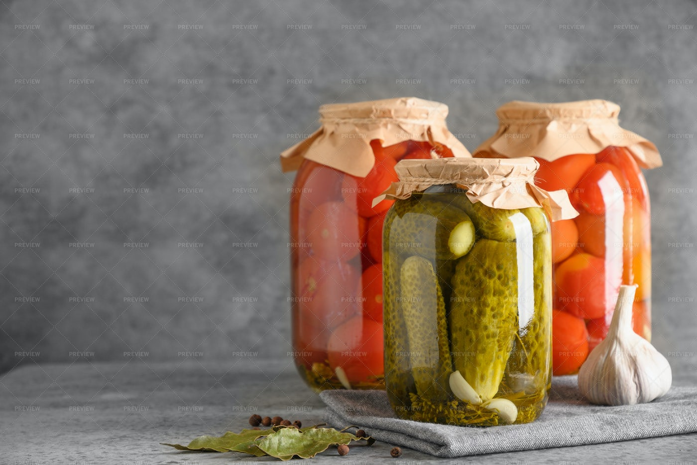 Homemade Pickled Tomatoes And Cucumbers: Stock Photos