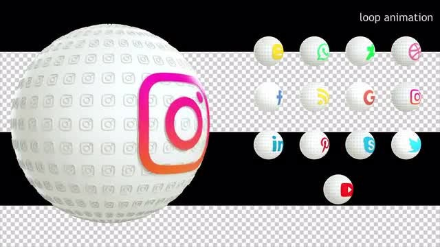 13 Social Media Icons White Pack: Stock Motion Graphics