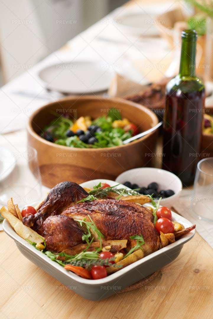Chicken Dish In Table: Stock Photos