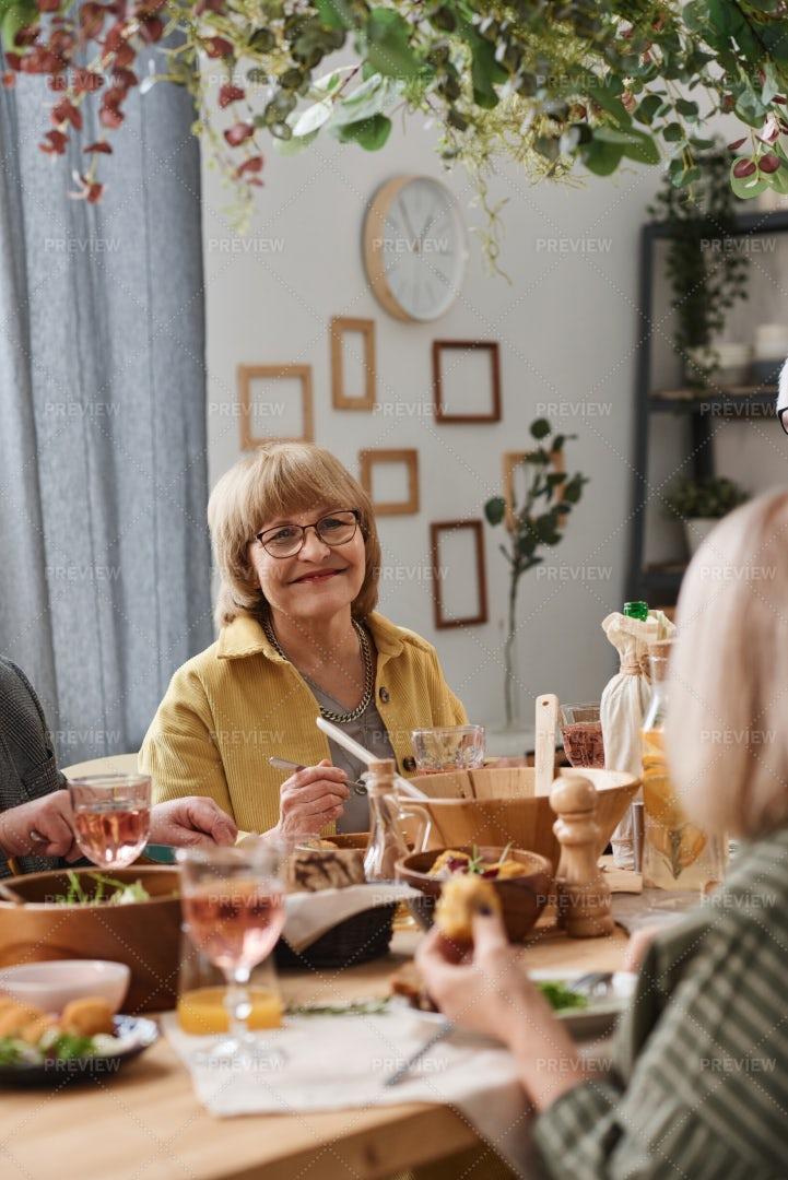 Senior Woman Having Dinner: Stock Photos