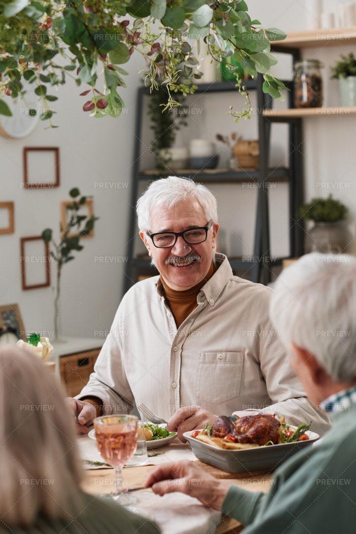 Senior Man Having Dinner: Stock Photos