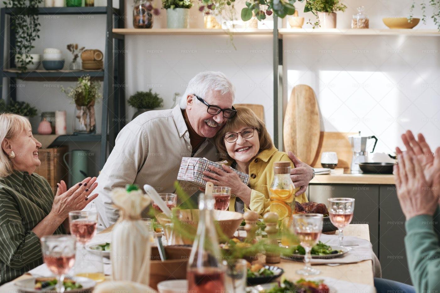 Happy Couple Celebrating Holiday: Stock Photos