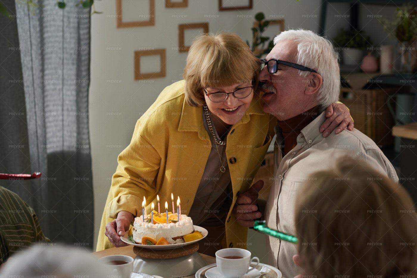 Senior Couple Celebrating Anniversary: Stock Photos